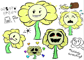 Flowey Sketches by Candy--Fizz