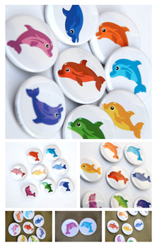 Rainbow of Dolphins Buttons - White Background by artshell