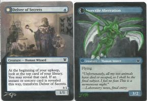 MTG Card Altered  Delver of Secrets as Scyther by ZeyoZx