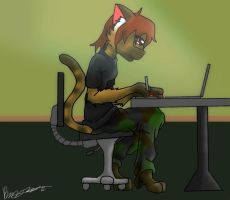 Kitty At Work by kungfudemoness