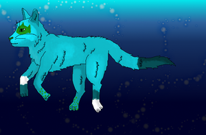 a swimming blue cat x3 by Pantherklaue