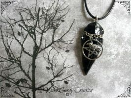 HANDMADE - Raven Pentacle And Black Obsidian by IWantCandyCreation