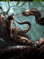 Kaa and Mowgli Jungle Book Movie concept art by officersmile1466