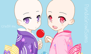 ::Yukata girls - BASE by PandaGrowlSama