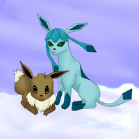 Glaceon and Eevee by CaffeinatedPokedex