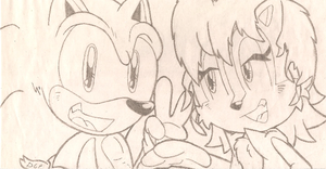 Sonic and Sally on bad paper =I by FritzyBeat