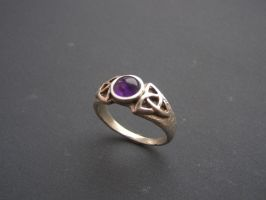 Celtic amethyst silver ring by BaldurJewelry