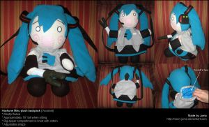 Hachune Miku plush backpack by Neon-Juma