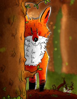 Fox in the wood by ThetinyPolo