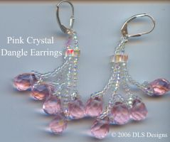 Pink and Clear AB Earrings by webgoddess