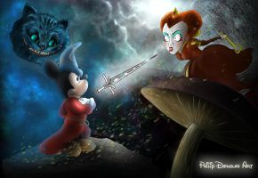 The Sorcerers Apprentice takes on the Red Queen by PhilipDouglasArt