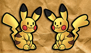 Pair of Paper Pikachu by Ashteritops