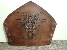 Carved dragon face leather bracer by marcuslerenard