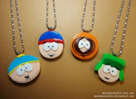 South Park Necklaces =) by MerShannCrafts