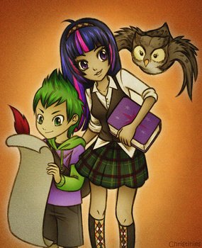 Twilight and Spike by Christinies
