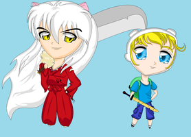 Inuyasha and Finn the Human by hanyou-lover1