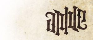 Apple ambigram by Leconte