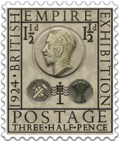 Steampunk Eric Gill Stamp PNG Icon Perforated by yereverluvinuncleber