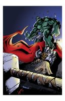 hulk vs thor - colors by adam pedrone by freddylupus