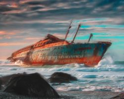 Shipwreck in Oil by Sonshine-Graphix