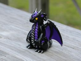 Black Silver and Purple Custom Dragon by MiniMythicalMonsters