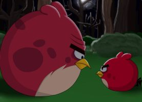 Angry Birds Fanart: Red And Terence's Conflict by Agi6