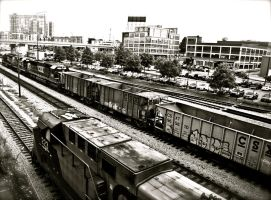 train kept a rolling 1 bw by Me-mice-elf-and-eye