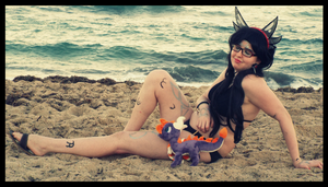 Sunny Beach Vacation with Spyro ( Cynder Cosplay) by KrazyKari