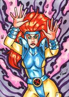 Jean Grey Sketch Card by ibroussardart