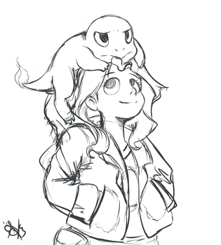 sunset and her new friend (sketch) by Daughter-of-Fantasy