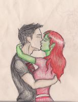 Miss Martian and Superboy by LifeUpsideDown