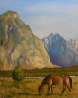 Horse with Mountains by Brandon-Schaefer