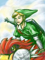 Link and His Bird (coloring practice) by Zamious