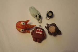 Necklaces of domo and Hayao Characters by yuu-16