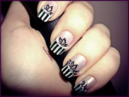 Black+white butterfly Nail art by RainbowsForKate