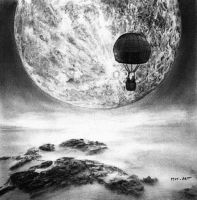 Fly to the moon Drawing by MM-ARTDrawing