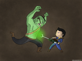 Vault Dweller VS Super Mutant (Fallout 1) by MFidel