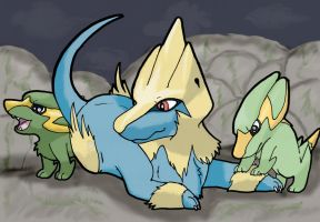 Manectric and kids by TheFrymon