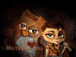 Little Girl and Owl-SpeedPaint by myoume