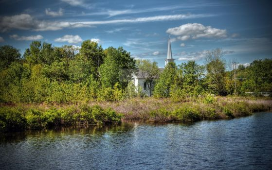 Pond and Church by aarongcampbell