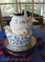quilted swirl wedding cake by cake-engineering
