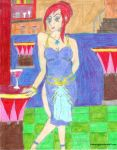 Hostess welcomes you to her bar. by Halowing