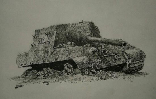 destoried Jagdtiger (black pen work) by lhlclllx97