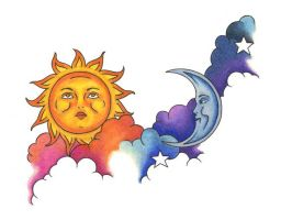 Tattoo Design Sun Moon Stars by NoraBlansett
