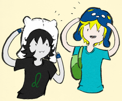 Finn and Nep Swappin' Hats by wolforchid