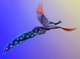 Blacklight Flying Peacock by MoonwalkingHorse