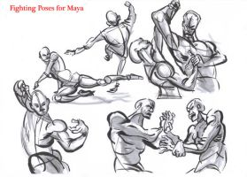 fighting poses for maya02 by AlexBaxtheDarkSide