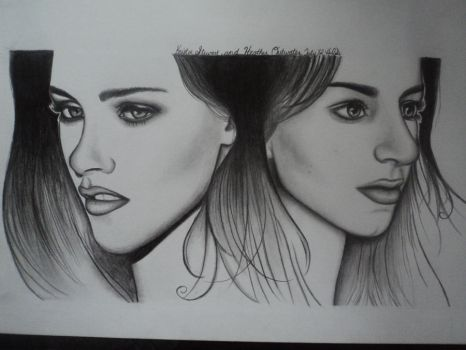 Kristen Stewart and Me drawing! by Freezingforheat