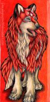 Red Wolf Bookmark by DrawingMaster1