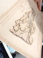 leather tooled book under construction by CreationsMJF